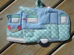 2012 Camping Potholder Series, Vintage Camper Trailer , blue plaid