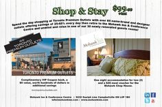 Spend the day shopping at Toronto Premium Outlets with a VIP coupon book worth hundreds in additional savings, use your $20 voucher at our in-house restaurant The Mohawk Chop House for dinner, then unwind and relax in one of our 30 newly renovated guests rooms. A great value of $135 for only $99!