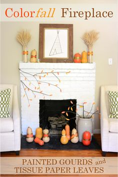 Fall Fireplace Mantel, Painted Gourds, leaves, iron and twine, diy playbook Fall Fireplace Mantel, Diy Mantel, Fireplace Stores, Wood Fireplace, Fireplaces, Diy Playbook, Paper Leaves, Painted Gourds, Fall Crafts