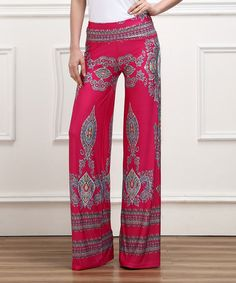 This Fuchsia Damask High-Waist Palazzo Pants by Reborn Collection is perfect! #zulilyfinds