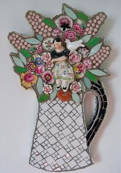 mosaic pitcher of flowers collage-beautiful work of art