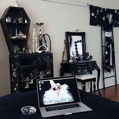♡@goddessbonbon @tealecoco's work space!!! Complete with a DR Coffin Bookcase…