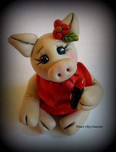 *POLYMER CLAY ~ Little Pig Wearing Lipstick, Polymer Clay Pig, Pig in a Red Dress, Cake Topper, Figurine