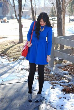 Brights in the winter! Simple outfit with Persun Mall dress, leggings, and printed heels. Outfit from The Red Closet Diary blog.  #fashionblogger #fashion