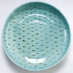 Light Blue Plate  Olive Hand Painted Teardrop by CaCoPotDesign, $45.00