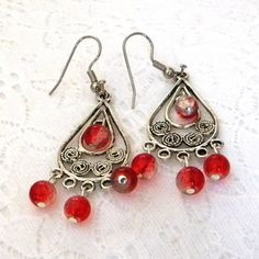 Silver drops with crackle glass red glass bead, silver plate wires all for $10