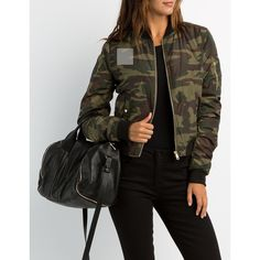 Charlotte Russe Camo Bomber Jacket ($39) ❤ liked on Polyvore featuring outerwear, jackets, olive combo, zip up jackets, camo print jacket, camouflage bomber jacket, bomber jacket and olive green jacket