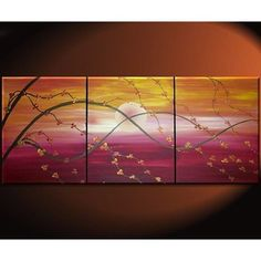 """【nathalievanart】さんのInstagramをピンしています。 《Sunset Cherry Blossom Painting Asian Style Wall Art Red Orange Yellow Zen Calming Colors Custom 48x20 TO BUY: Comment with your email address, and you'll receive a secure checkout link. Price: US$225.00. """"Sunset Cherry Blossom Trees"""" 48"""" by 20"""" painting This is a listing to purchase a commission for a painting like this one. Please allow one week for me to complete the painting. This Asian Style Cherry Blossom Painting measures 48""""x 20"""" all together…"""