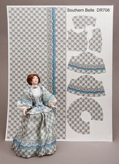 Kit to dress a Southern Belle using a unique preprinted silk satin fabric sheet. Just add lace for accents.Good Sam Showcase of Miniatures: Dealer Deb Laue, Dragonfly International - Supplies & Kits Doll Dress Patterns, Felt Patterns, Sewing Patterns, Miniature Crafts, Miniature Dolls, Dollhouse Dolls, Victorian Dolls, Antique Dolls, Bjd Doll