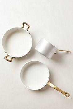 Kitchen ware, pots, white, brash
