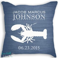 Lobster Custom Pillow with Insert  Nautical Nursery by livewellink