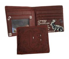 Lucky 13: Bad Wrangler Billfold Wallet. Embossed on inside & out. ID holder with multiple credit card slots for $34.00 USD at Killer Crowns.  Follow this link -->  http://www.killercrowns.com/brands/lucky-13/bad-wrangler-wallet.html