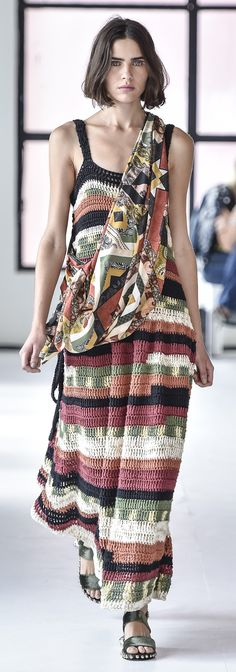 IÓDICE striped crochet dress with coordinating print fabric scarf at SPFW, N42 2017