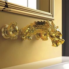 Baroque Style Gold Color Widespread Lavatory Sink Faucet Dragon Mixer Faucet Wall Mounted Dual Handles Basin Faucet LB-69C018-A