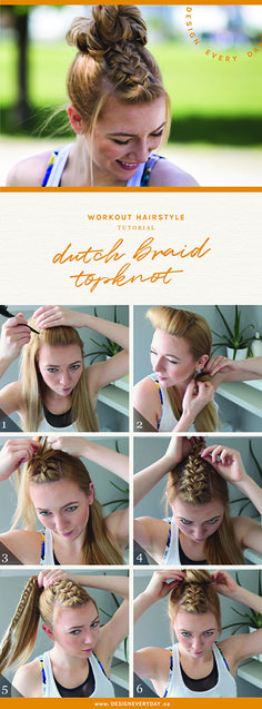 workout hairstyle: dutch braid topknot