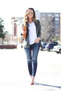spring fashion, summer fashion, spring outfit, summer outfit, street style, street chic style, casual outfit - military green bomber jacket, white t-shirt, distressed skinny jeans, brown pointy toe heels, brown clutch, aviator sunglasses
