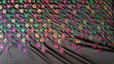 "Black Satin with Flower Sequin  56"" width  2 way stretch sold by the yard dance"