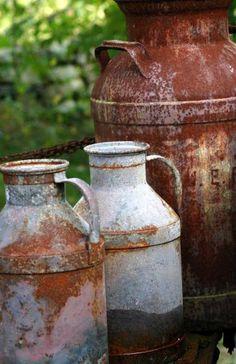 Rustic milk cans