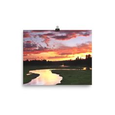 Photo paper poster with beautiful meandering Gibbon River at sunset.