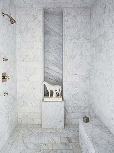 """Darryl's design for the master bath is streamlined and elegant—but not without intrigue. """"I have a fascination with horses. I think they are beautiful creatures,"""" he says. Small Bathroom, Master Bathroom, Bathroom Ideas, White Bathrooms, Master Shower, Bathroom Stuff, Bath Ideas, Bathroom Faucets, Best Kitchen Design"""