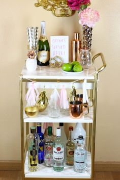 DIY IKEA Hack: Gold And Marble Bar Cart | Shelterness
