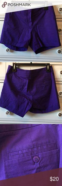 "J. Crew Factory Purple Chino Shorts 7"" Sz 4 J. Crew Factory Purple Chino Shorts 7"" Sz 4 Excellent pre-loved condition. Smoke-free and pet friendly J. Crew Factory Shorts"