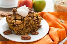 Vegan Pumpkin Spice Baked Oatmeal with Crumb Topping Produce  1 Apple  1/2 tsp Ginger  1 cup Pumpkin puree    Breakfast Foods  2 1/2 cups Rolled oats    Condiments  2 tbsp Maple syrup     Baking & Spices  1 tsp Baking powder  2 tsp Cinnamon  1/4 tsp Cloves  1/2 tsp Kosher salt  1/3 cup Maple syrup or brown sugar  1/4 tsp Nutmeg  #fast, easy, affordable, cheap, vegetarian, vegan, gluten-free, make substitutions delicious