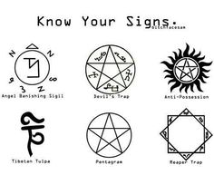 Imagine if a teacher or classmate finds my notebooks with these symbols doodled all over them what would they even think Supernatural Tattoo, Spn Tattoo, Supernatural Pentagram, Supernatural Demon Trap, Supernatural Anti Possession Tattoo, Castiel, Anti Possession Symbol, Demon Possession, Supernatural Crafts