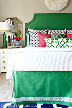 Kelly Green, Navy, and Pink Master Bedroom  ||  Green Upholstered Headboard  ||  Bold, Colorful, Preppy Bedroom  ||  Dimples and Tangles