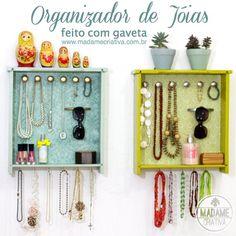 Organizador de jóias e bijuterias usando gaveta! #diy #organize #recycle