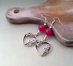 Red hearts earrings delicate christmas gift by MKedraDecoupage, $11.00