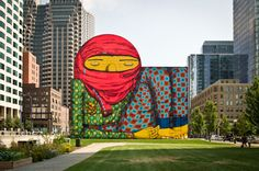 "Os Gemeos (Otavio and Gustavo Pandolfo) ""The Giant of Boston"" at the Rose Kennedy Greenway at Dewey Square, Boston. let's visit! through January 2014 (photo © Geoff Hargadon). via Huff Post Arts"