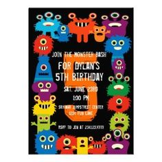 Colorful Monsters Kids Birthday Party Invitations