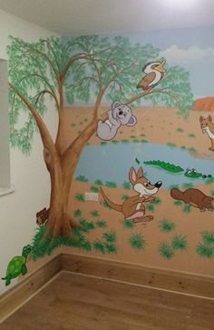 Australian outback themed wall mural for a nursery Australian Nursery, Australian Animals, Australian Desert, Australian Bush, Nursery Wall Murals, Nursery Themes, Animal Room, Animal Nursery, Safari Theme