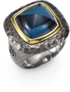 Love this: Blue Topaz 18k Gold Sterling Silver Cabochon Hammered Ring @Lyst