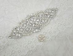 Bridal Garter Wedding Set Ivory Rhinestone Pearl Best Friend