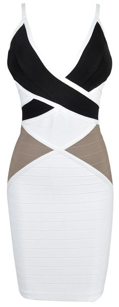 Move your mouse over image or click to enlarge  'MALIAH' TRI-TONE STRAPPY BANDAGE DRESS