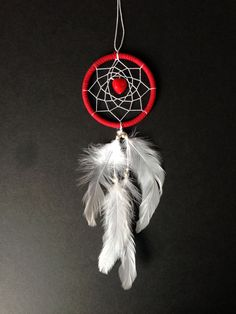 Valentine's Day Dream Catcher red with red heart by ReinaJewelers
