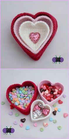 Crochet Heart Basket Free Patterns – Heart Nesting Baskets Free Pattern Source by kjbbu Holiday Crochet, Crochet Home, Crochet Gifts, Crochet Baby, Free Crochet, Crochet Hearts, My Funny Valentine, Valentine Crafts, Valentine Heart
