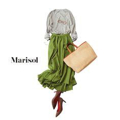 デスクワーク三昧の日はデコルテ美人ニット&スカートでエレガントにMarisol ONLINE|女っぷり上々!40代をもっとキレイに。