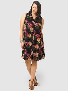 Swing Dress In Rose Print