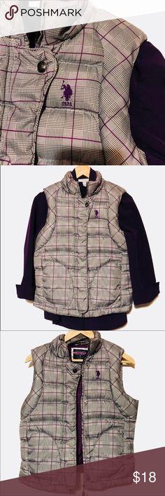 Polo puffer vest perple/grey U.S. POLO ASSN  Excellent condition  💯 polyester  Zipper & snaps  Inside hidden zipper pocket U.S. Polo Assn. Jackets & Coats Vests