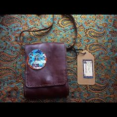 Leather bag Handmade- hand stitched original leather bag with handmade and hand painted button Bags Shoulder Bags