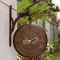 Pinecone Outdoor Wall Clock & Thermometer
