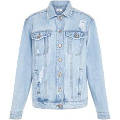New Look Blue Ripped Oversized Denim Jacket ($44) ❤ liked on Polyvore featuring outerwear, jackets, wedgewood blue, oversized jean jacket, blue denim jacket, distressed jacket, blue jackets and denim jacket