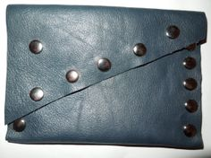 UNIQUE Genuine BLUE RIVETS leather purse handmade. by BellyPork, €15.00