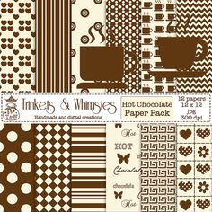 Coffee and Cream Digital Scrapbook Papers  Instant by TnWScraps