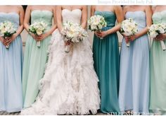 Not sure about the fluffy bride's dress! But the colours of the bridesmaid dresses are cute!