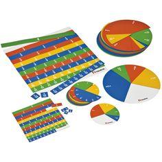 --- magnetisch breukenset --- Magnetische breukensets van hoogwaardig materiaal. De kleuren van de breukensets ondersteunen de relaties tussen de verschillende breuken. De individuele breukensets bevatten een individueel magneetbordje om de breuken op te bevestigen.