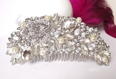 Pearl hair comb wedding hair comb bridal by nefertitijewelry2009, $45.00